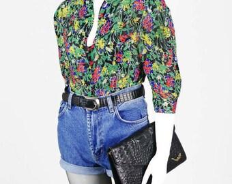 Floral vintage chiffon blouse