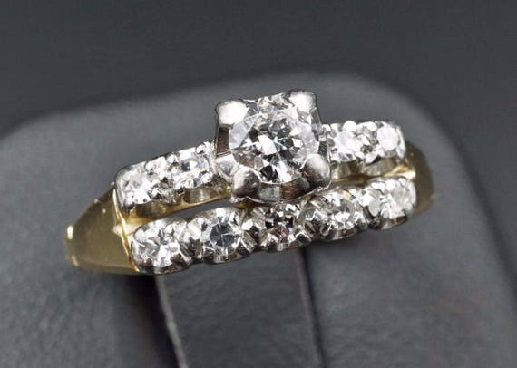 Vintage 14k Gold 0.5ct VVS2 Diamond Engagement Ring Finger Fit Size 5.25 RG1017