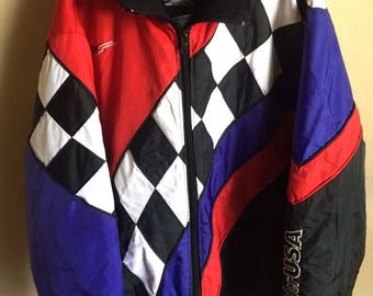 Vintage Retro Sno-Rider USA Snowmobile Jacket Thinsulate Quilted Lined Men's XL Checkered Winter
