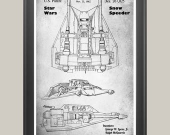 Star Wars Snow Speeder, Snow Speeder Poster, Star Wars Poster, Star Wars Patent, Snow Speeder Print, Star Wars Decor, Star Wars Art P297