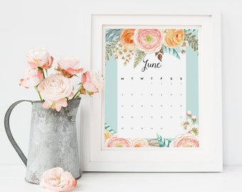 Floral Printable Wall Calendar - June 2017 to May 2018 - Floral Office Calendar - 2017 2018 Printable Calendar - School Monthly Calendar