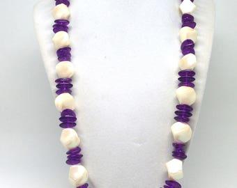Vintage Estate Purple Off White Beaded Necklace