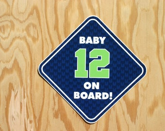 Seahawks Baby 12 Decal -- Baby 12 On Board -- Seattle Seahawks Football Decal -- Baby Seahawk Gift -- Seahawks Baby Shower -- 12th Man Decal