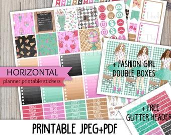 Horizontal Ice Cream printable planner stickers for Erin Condren LifePlannerTM ice cream shop chair fashion girl cake chalkboard sign weekly