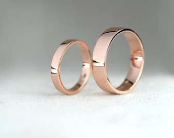5 mm Wedding Band ring-3 mm Wedding Band Ring- His and Hers Wedding Rings Set-9ct Rose Gold Wedding Band-Handmade to Order