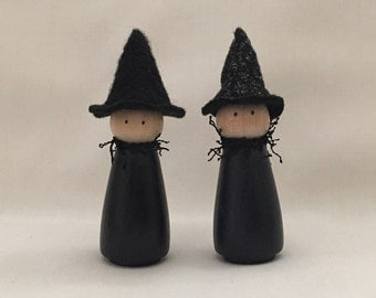 Peg Doll Witch-Halloween Peg Doll-Peg Person-Halloween Decoration-Witch Decoration-Witch Ornament-Wooden Peg Doll