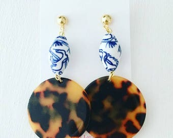 Chinoiserie Tortoise Shell Earrings | Dark Brown, blue and white, hoops, gold, dangle, statement earrings, posts