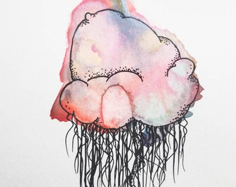 Cotton Candy Jellyfish (Original Watercolor Painting)