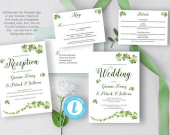 printable irish wedding invitation diy celtic wedding template with a greenery irish shamrock illustration - Celtic Wedding Invitations