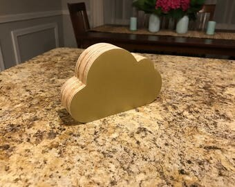 Cloudy Coin Bank - Gold Plywood