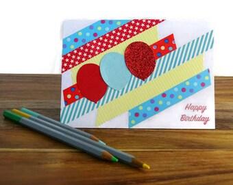 Happy birthday card, Card for kids, Birthday card blank, Washi tape greeting card, Birthday card for kids, Handmade birthday card, Cards