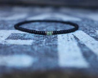 Mens Peridot Bracelet - Men's Anniversary Jewelry - Men's Bead Bracelets, Mens gift for him Husband Gift , Mens Seed Bead