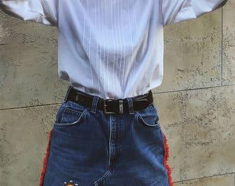 Mr. Witt Tailored White Collared Blouse, 1980s