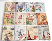 Postage Stamp buttons - Floral buttons -  Flower buttons - Wood buttons - Buttons for Sewing - Quilting buttons - Eiffel Tower buttons