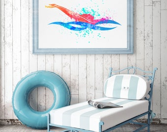 Swimmer Gift, Backstroke Swimming Art, Gifts For Swimmers, Swimmer Print, Watercolour Sports, Swimming Pool Wall Art, Kids Room (N071)