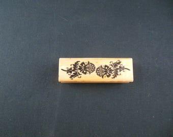 Damask Floral Design Mounted Rubber Stamp