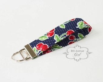 Key fob, keychain, wristlet keychain, key strap, fabric key fob, navy blue fabric with cherries***Ready-to-ship***
