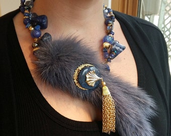 Big and bold necklace, Mink tails, real fur, statement choker, Lapis Lazuli, glass beads, WOW Factor, cocktail party