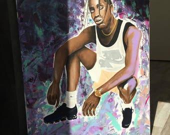 SUPREME INK peinture acrylique sur toile 60 x 80 cm, Rihanna, Travis Scott, La Flame, Asap Bari, Young Lord, Vlone, Kendrick Lamar