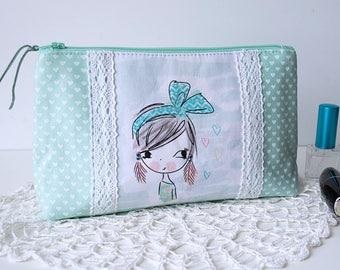 Mint cosmetic bag makeup bag girl print beauty case hearts teens toiletry bag zipper pouch travel makeup bag teens birthday