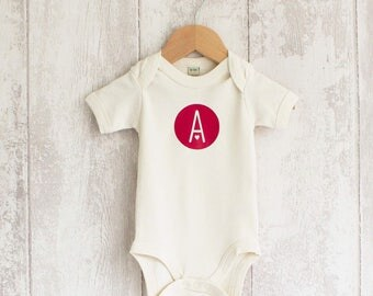 Natural Letter Organic, Baby Bodysuit, Christening Gift, Baby Shower Gift, Gift for New, Baby Gift, Personalized Baby, Personalised Baby