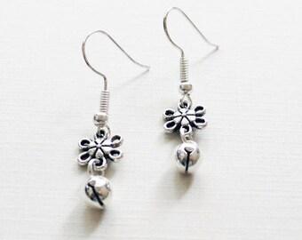 Silver Jingle Bell Earrings | Christmas Earrings