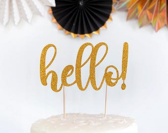 Hello Cake Topper, can add Any age, 30th Birthday Cake Topper, Hello Cake Topper, Birthday, Baby Shower, Wedding Party, Cake, Christmas.