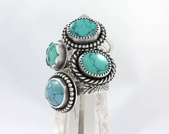 LaoOne * Sterling Silver Rings * with beautiful Natural Kingman Arizona Turquoise