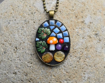 Mosaic Pendant ~ Mosaic jewelry ~ mushroom jewelry ~ mixed media mosaic ~ mosaic gift