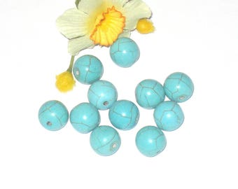 5 round reconstituted turquoise beads 12 mm