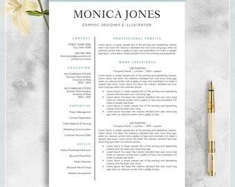 Resume Template, CV Template for MS Word, Professional Resume, Modern Resume Design, Resume Instant Download