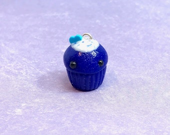 Blue Velvet Polymer Clay Cupcake Charm - planner, backpack, keychain, purse