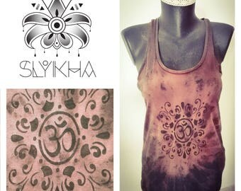 T-Shirt woman ohm tank top dyed and hand painted
