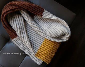 knit multi color blocked scarf | long ribbed scarf || knitted winter scarf || chunky rib scarf | knit unisex scarf -linen toffy mustard 80''
