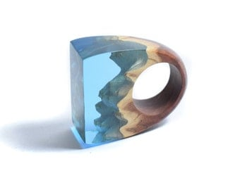 Ocean Ring, Resin Ring, Resin Jewelry, Blue Ring, Wood Resin Ring, March birthday, Treat yo self, Birthday gift for her, Wood Jewelry
