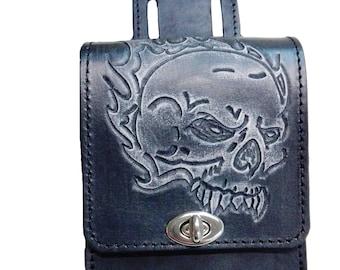 Bikers Skull genuine leather belt pouch