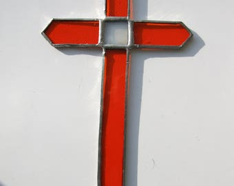 Stained Glass Sun Catcher Orange Cross