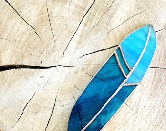 Stained Glass Feather Suncatcher Blue