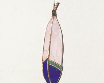 Stained Glass Feather Suncatcher Pink Purple
