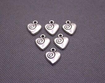BULK 50 pcs Silver Heart Charms   Heart Pendant, Silver Heart Pendant, Heart Jewelry, Small Heart Charm, Spiral Heart, Tiny Heart Charm