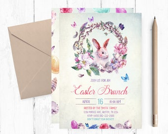 Easter Brunch Invitation, Easter Brunch Invites, Easter Brunch Invitations, Spring invitations, Easter Buffet, Easter Lunch, Bunny invites,