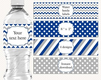 Navy blue and Gray Water bottle labels Wrappers. Diy labels. Editable tags. Boy Birthday Party Baby shower. Blank labels. Printable labels