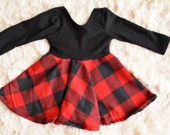 Toddler Buffalo Plaid Dress, Baby Buffalo Plaid Dress, Buffalo Plaid Peplum Dress, Baby Plaid Peplum Dress, Toddler Plaid Peplum Dress