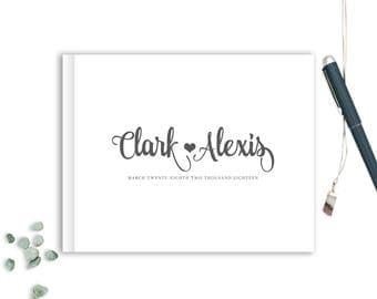 Wedding Guest Book landscape horizontal Guest Books Custom Guestbook Modern Wedding Script Wedding - White and Charcoal