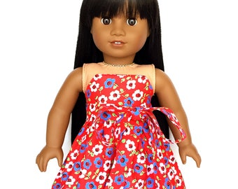 Strapless Dress, Sash, Floral Red, Blue, Yellow, White, 18 inch Doll Clothes, Fits dolls such as American Girl