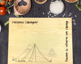 Cutting Board Personalized, Personalized Cutting Board, Gift for Him, Cutting Board Funny, Camping Cutting Board, Tent, Campfire, B-0097