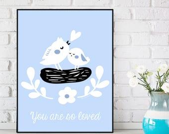 Baby poster, Birds poster, Nursery decor, Children poster, Nursery poster, Nursery quote art, Child room decor, Children gift, Baby gift
