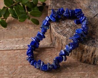 LAPIS LAZULI Chip Bracelet - Lapis Lazuli Bead Jewelry, Healing Crystal Bracelet, Lapis Lazuli Stone, Lapis Lazuli Stretch Bracelet E0645