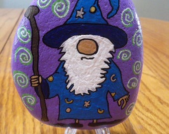 painted river rock Wizard