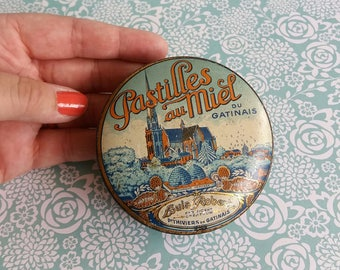 1920s Louis Roberts Pastilles au Miel Sweets Tin - French Honey Drops - Wonderful Bee Design - Gatinais Province in France